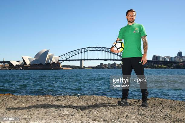 Josh Risdon poses after the Australian Socceroos World Cup Preliminary Squad Announcement at Lady Macquarie's Chair on May 7 2018 in Sydney Australia