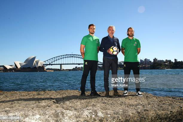 Josh Risdon Socceroos Head Coach Bert van Marwijk and Josh Brillante pose after the Australian Socceroos World Cup Preliminary Squad Announcement at...