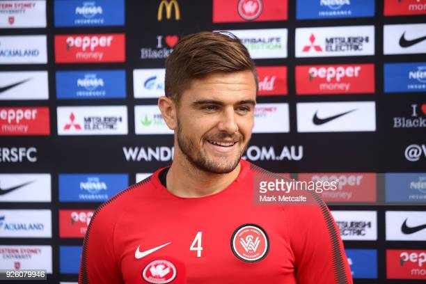 Josh Risdon speaks to media during a Western Sydney Wanderers ALeague training session at Blacktown International Sportspark on March 2 2018 in...