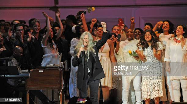 Josh Ritter Patti Smith and The Resistance Revival Chorus perform at the Michael Dorf Presents The Music Of Van Morrison at Carnegie Hall on March 21...