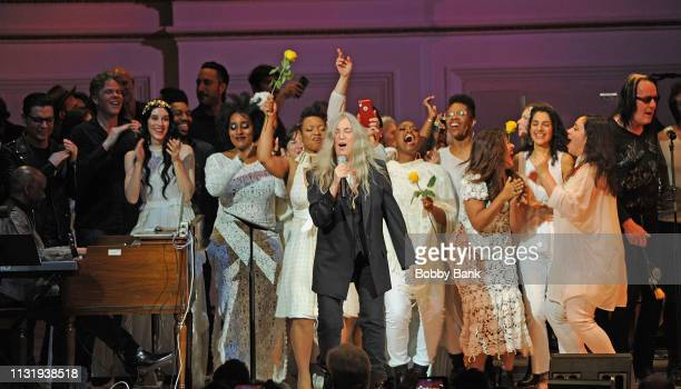Josh Ritter Patti Smith Todd Rundgren and The Resistance Revival Chorus perform at the Michael Dorf Presents The Music Of Van Morrison at Carnegie...