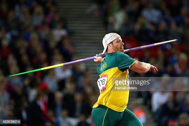 Josh Robinson of Australia ompetes in the Men's Javelin qualification at Hampden Park during day nine of the Glasgow 2014 Commonwealth Games on...