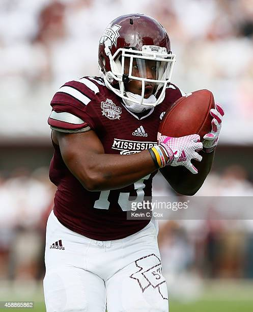 Josh Robinson of the Mississippi State Bulldogs against the Auburn Tigers at Davis Wade Stadium on October 11 2014 in Starkville Mississippi