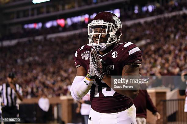 Josh Robinson of the Mississippi State Bulldogs celebrates a touchdown during a game against the Vanderbilt Commodores at Davis Wade Stadium on...