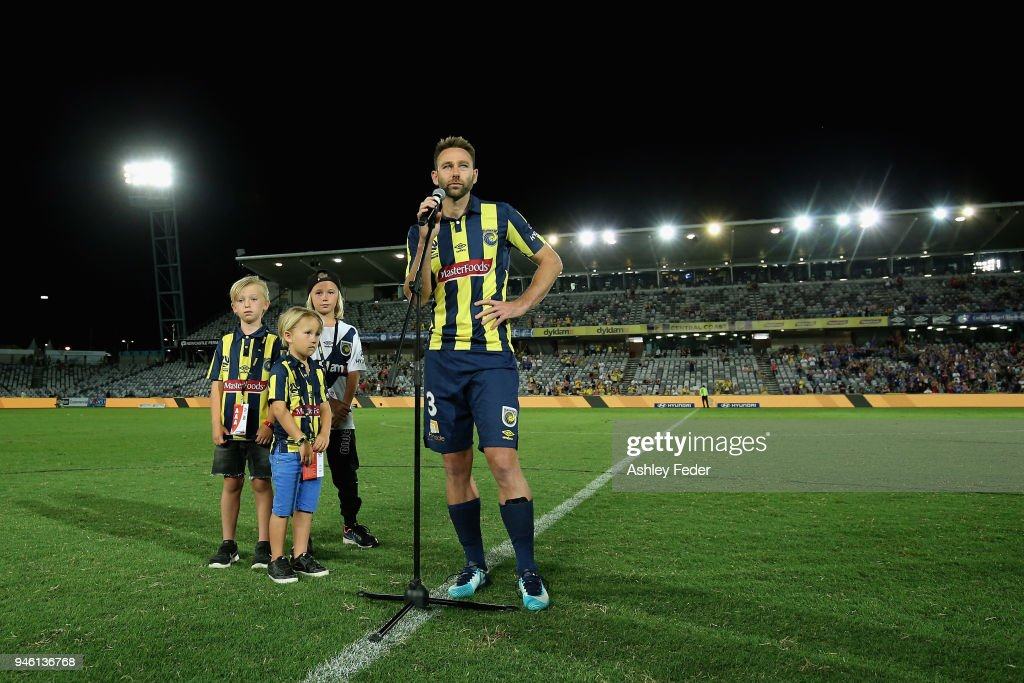 Josh Rose during a presentation for his final game during the round 27 A-League match between the Central Coast Mariners and the Newcastle Jets at Central Coast Stadium on April 14, 2018 in Gosford, Australia.