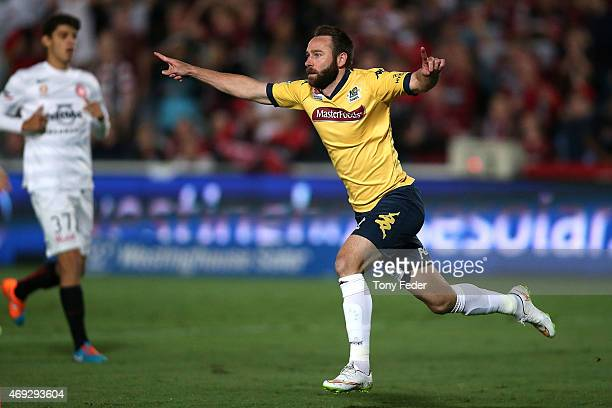 Josh Rose of the Mariners celebrates a goal during the round 25 ALeague match between the Central Coast Mariners and the Western Sydney Wanderers at...