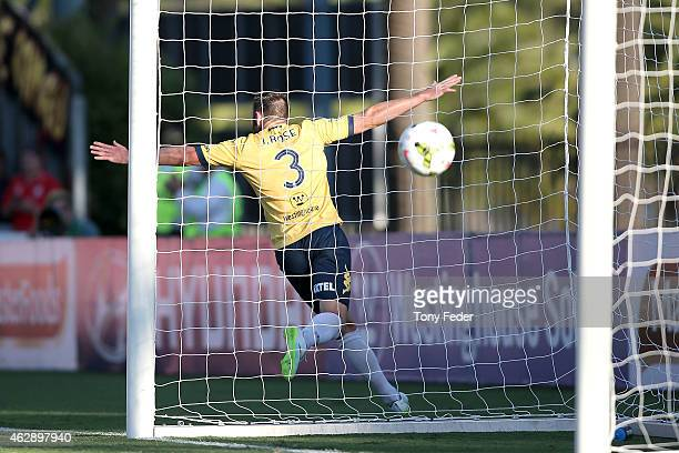 Josh Rose of the Mariners celebrates the winning goal during the round 16 ALeague match between the Central Coast Mariners and Adelaide United at...