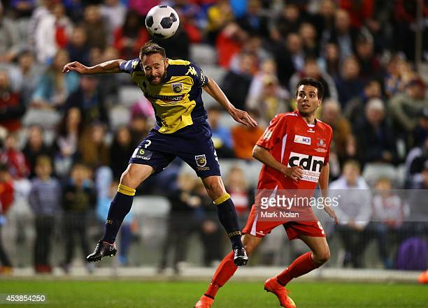 Josh Rose of the Mariners clears the ball during the FFA Cup match between the South Coast Wolves and the Central Coast Mariners at WIN Stadium on...