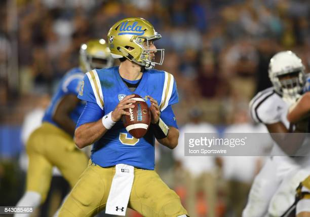 Josh Rosen drops back for a pass during a college football game between the Texas AM Aggies and the UCLA Bruins on September 03 2017 at the Rose Bowl...