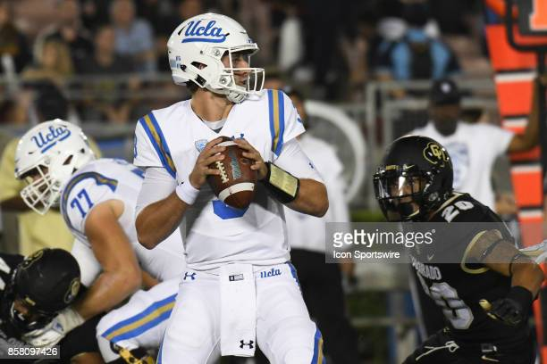 Josh Rosen looks for an open receiver during a college football game between the Colorado Buffaloes and the UCLA Bruins on September 30 2017 at the...