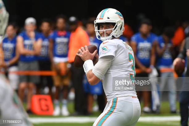 Josh Rosen of the Miami Dolphins during pregame before the start of the game against the Washington Redskins at Hard Rock Stadium on October 13, 2019...
