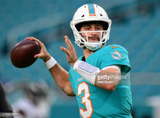 Josh Rosen of the Miami Dolphins in action during the preseason game against the Jacksonville Jaguars at Hard Rock Stadium on August 22, 2019 in...
