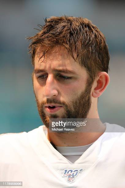Josh Rosen of the Miami Dolphins looks on prior to the game between the Miami Dolphins and the Los Angeles Chargers at Hard Rock Stadium on September...