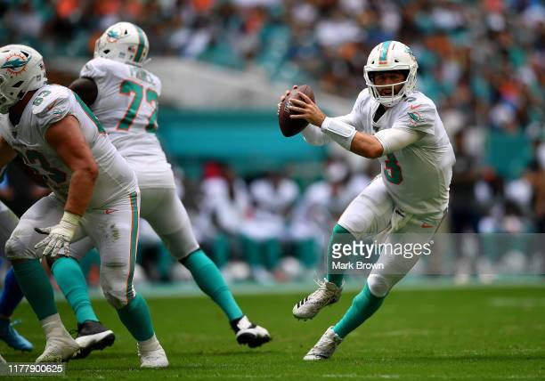 Josh Rosen of the Miami Dolphins looks to pass in the second quarter against the Los Angeles Chargers at Hard Rock Stadium on September 29, 2019 in...