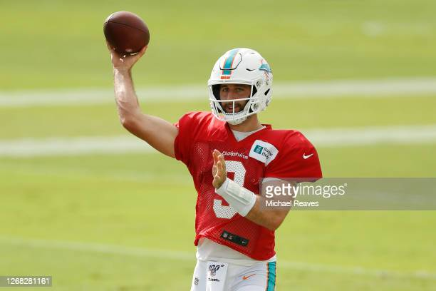 Josh Rosen of the Miami Dolphins throws a pass during training camp at Baptist Health Training Complex at Nova Southern University on August 24, 2020...