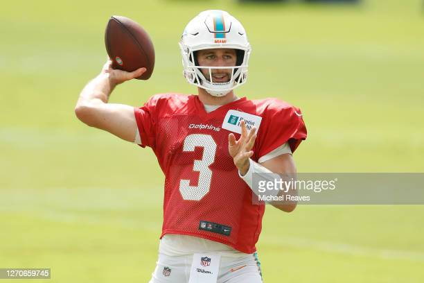 Josh Rosen of the Miami Dolphins throws a pass during training camp at Baptist Health Training Facility at Nova Southern University on September 04,...