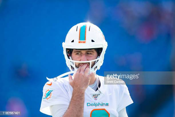 Josh Rosen of the Miami Dolphins warms up before the game against the Buffalo Bills at New Era Field on October 20, 2019 in Orchard Park, New York....