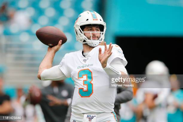 Josh Rosen of the Miami Dolphins warms up prior to the game between the Washington Redskins and theMiami Dolphins at Hard Rock Stadium on October...