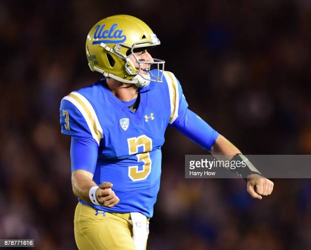 Josh Rosen of the UCLA Bruins celebrates his touchdown pass for a 73 lead over the California Golden Bears during the first quarter at Rose Bowl on...