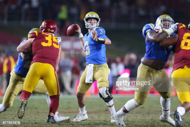 Josh Rosen of the UCLA Bruins looking to throw the ball during a college football game between the UCLA Bruins vs USC Trojans on November 18 2017 at...