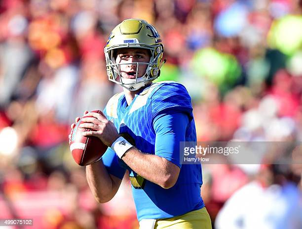 Josh Rosen of the UCLA Bruins looks down field during the second quarter against the USC Trojans at Los Angeles Memorial Coliseum on November 28 2015...