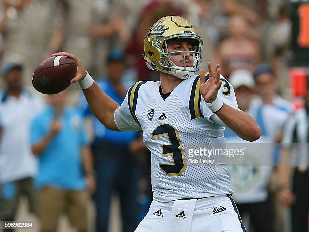 Josh Rosen of the UCLA Bruins looks down field for a receiver against the Texas AM Aggies in the first half at Kyle Field on September 3 2016 in...