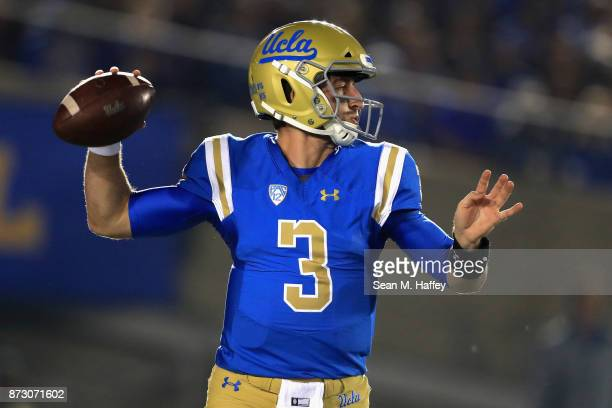 Josh Rosen of the UCLA Bruins looks to pass during the first half of a game against the Arizona State Sun Devils at the Rose Bowl on November 11 2017...