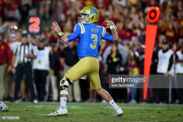 Josh Rosen of the UCLA Bruins looks to throw the ball during a college football game between the UCLA Bruins vs USC Trojans on November 18 2017 at...