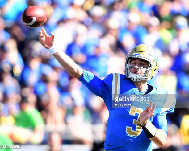 Josh Rosen of the UCLA Bruins passes in the pocket during a 3114 win over the Oregon Ducks at Rose Bowl on October 21 2017 in Pasadena California
