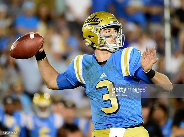 Josh Rosen of the UCLA Bruins passes in the pocket during the fourth quarter against the Stanford Cardinal at Rose Bowl on September 24 2016 in...