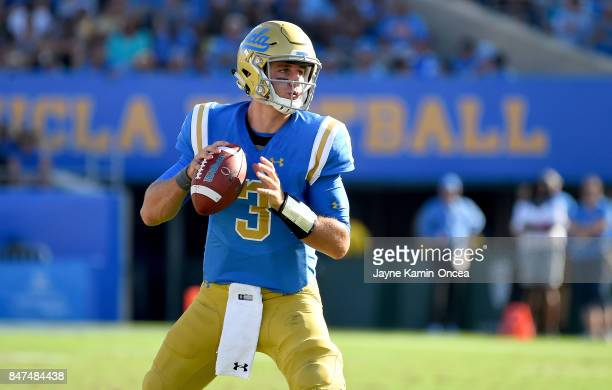 Josh Rosen of the UCLA Bruins passes the ball during a play in the game against the Hawaii Warriors at the Rose Bowl on September 9, 2017 in...