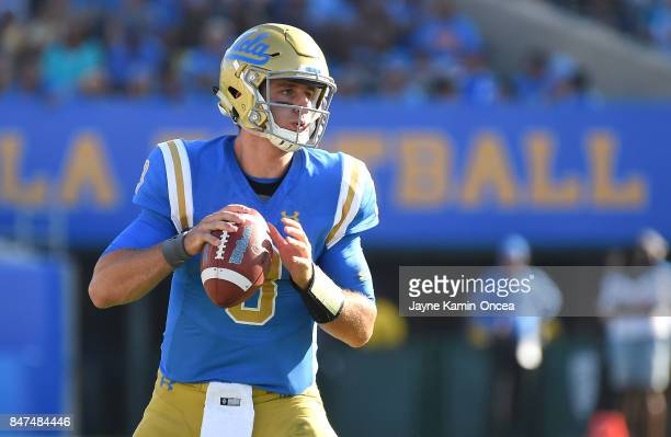 Josh Rosen of the UCLA Bruins passes the ball during a play in the game against the Hawaii Warriors at the Rose Bowl on September 9 2017 in Pasadena...