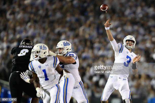 Josh Rosen of the UCLA Bruins passes the ball during the first half of a game against the Colorado Buffaloes at the Rose Bowl on September 30 2017 in...