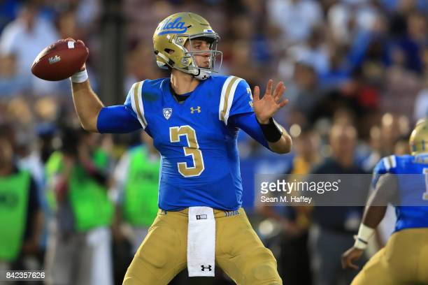 Josh Rosen of the UCLA Bruins passes the ball during the second half of a game against the Texas AM Aggies at the Rose Bowl on September 3 2017 in...