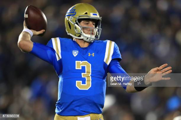 Josh Rosen of the UCLA Bruins passes the ball during the second half of a game against the Arizona State Sun Devils at the Rose Bowl on November 11...