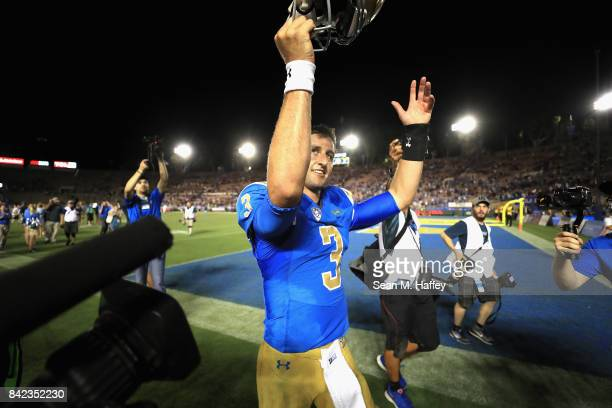 Josh Rosen of the UCLA Bruins reacts to defeating Texas AM Aggies 4544 in a game at the Rose Bowl on September 3 2017 in Pasadena California