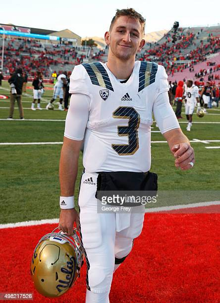 Josh Rosen of the UCLA Bruins smiles as he leaves the field after the Bruins beat the Utah Utes at Rice Eccles Stadium on November 21 2015 in Salt...