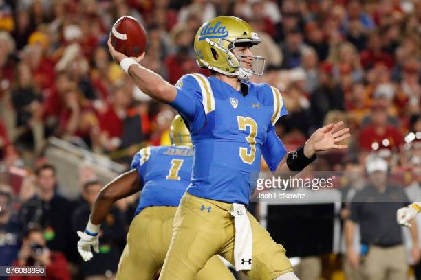 Josh Rosen of the UCLA Bruins throws a pass during the NCAA college football game against the USC Trojans at the Los Angeles Memorial Coliseum on...