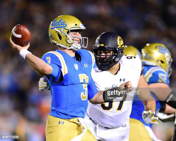 Josh Rosen of the UCLA Bruins throws in the pocket in front of Tony Mekari of the California Golden Bears during the second quarter at Rose Bowl on...