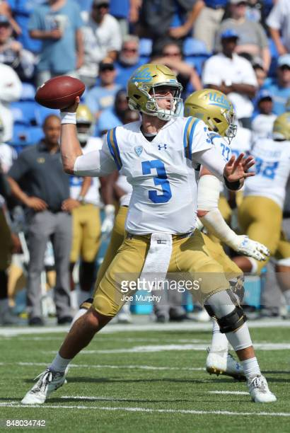 Josh Rosen of the UCLA Bruins throws the ball against the Memphis Tigers on September 16 2017 at Liberty Bowl Memorial Stadium in Memphis Tennessee...