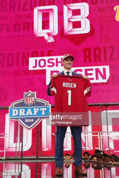 Josh Rosen of UCLA poses after being picked overall by the Arizona Cardinals during the first round of the 2018 NFL Draft at ATT Stadium on April 26...