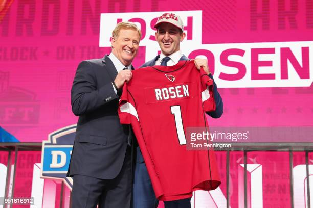 Josh Rosen of UCLA poses with NFL Commissioner Roger Goodell after being picked overall by the Arizona Cardinals during the first round of the 2018...