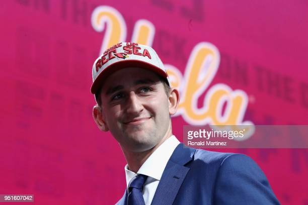 Josh Rosen of UCLA reacts after being picked overall by the Arizona Cardinals during the first round of the 2018 NFL Draft at ATT Stadium on April 26...