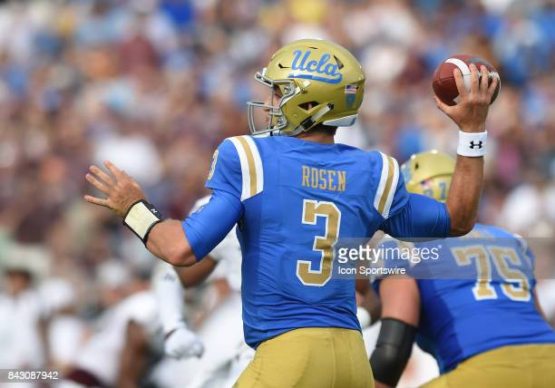Josh Rosen throws the ball during a college football game between the Texas AM Aggies and the UCLA Bruins on September 03 2017 at the Rose Bowl in...