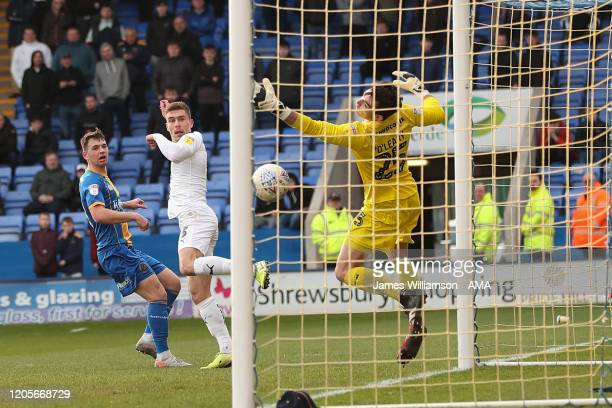 Josh Ruffels of Oxford United scores a goal to make it 23 during the Sky Bet League One match between Shrewsbury Town and Oxford United at Montgomery...