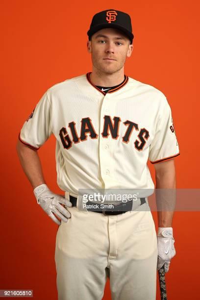 Josh Rutledge of the San Francisco Giants poses on photo day during MLB Spring Training at Scottsdale Stadium on February 20 2018 in Scottsdale...