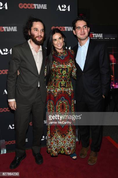 Josh Safdie Demi Moore and Ben Safdie attend 'Good Time' New York Premiere at SVA Theater on August 8 2017 in New York City