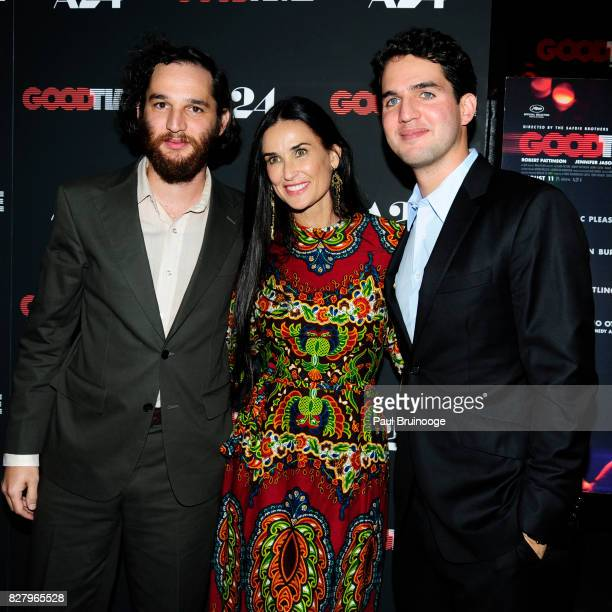 Josh Safdie Demi Moore and Benny Safdie attend 'Good Time' New York Premiere at SVA Theater on August 8 2017 in New York City