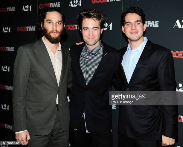Josh Safdie Robert Pattinson and Benny Safdie attend 'Good Time' New York Premiere at SVA Theater on August 8 2017 in New York City