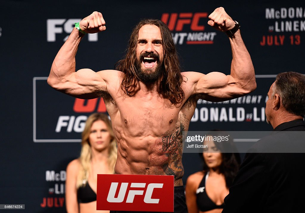 Josh Samman steps onto the scale during the UFC Fight Night weigh-in at Denny Sanford Premier Center on July 12, 2016 in Sioux Falls, South Dakota.